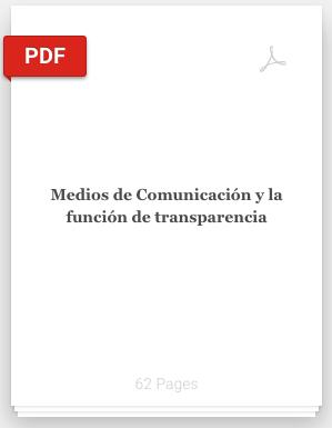 Book Cover: Medios de Comunicación y la función de transparencia